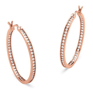 PalmBeach 1.44 TCW Cubic Zirconia Inside Out Hoop Earrings in Rose Gold-Plated Classic CZ
