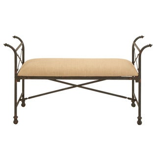 Beige Fabric Cushioned Bench