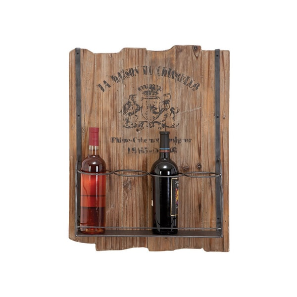 French Theme Distressed Wood Hanging Wine Rack