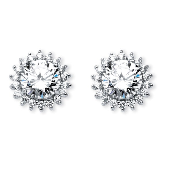 PalmBeach CZ Platinum over Silver 4 3/4ct TCW Cubic Zirconia Stud Earrings Glam CZ