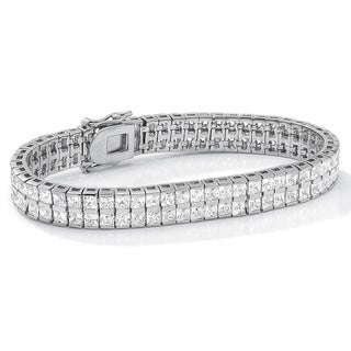 """PalmBeach 6 TCW Princess-Cut Cubic Zirconia Silvertone Double-Row Tennis Bracelet 7 1/4"""" Classic CZ"""