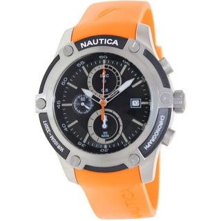 Nautica Men's Orange Rubber Quartz Watch