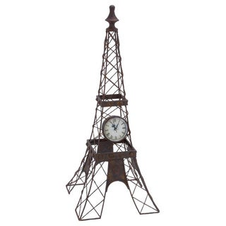 Eiffel Tower Iron Structure Mounted Clock