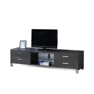 Natasha High-Gloss Grey/ Stainless Steel Modern TV Stand