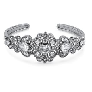 Ultimate CZ Platinum-Plated 9 3/8ct TCW Cubic Zirconia Vintage Style Bangle