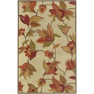 Hand-tufted Handicraft Imports 'Aisling' Beige Floral Wool-blend Area Rug (5' x 8')