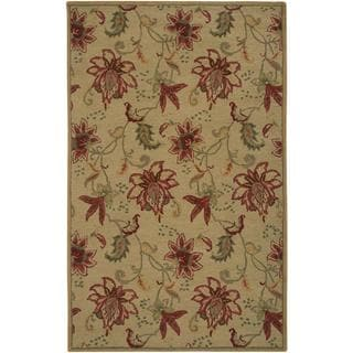 Hand-Tufted Handicraft Imports 'Aisling' Gold Wool Blend Area Rug (5' x 8')
