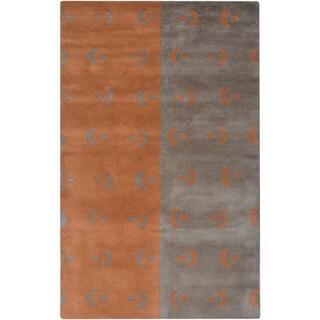 Hand-tufted Designer Trends Grey/ Orange Wool Rug (3' x 5')