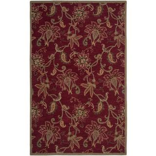Hand-Tufted Handicraft Imports Aisling Red/Green New Zealand Wool Blend Area Rug (5' x 8')