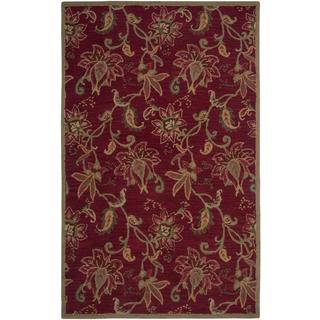 Hand-tufted Aisling Red/ Green Wool-blend Rug (8' x 10')