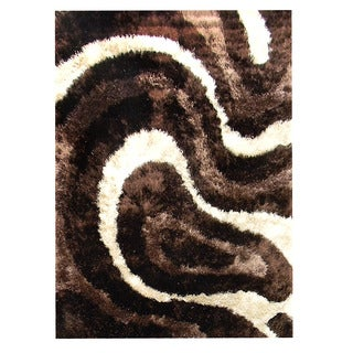Hand-tufted Abstract Wave Chocolate Area Rug (5' x 7')