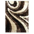 Hand-tufted Abstract Wave Chocolate Area Polyester Rug (5' x 7')