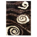 Hand-tufted Abstract Swirl Chocolate Area Rug (5' x 7')