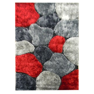 Hand-tufted Abstract Color-block Red Area Rug (5' x 7')