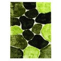 Hand-tufted Abstract Color-block Green Area Rug (5' x 7')