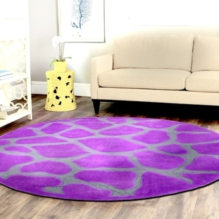 Tufted Animal Print Purple Round Rug (3' X 3')