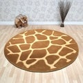 Tufted Animal Print Natural Tan Round Rug (3' x 3')