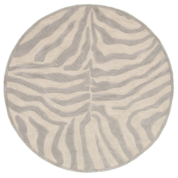 LNR Home Fashion Taupe/ Silver Animal-print Rug (3' Round)