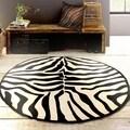 LNR Home Fashion Black/ Cream Animal-print Area Rug (3' Round)