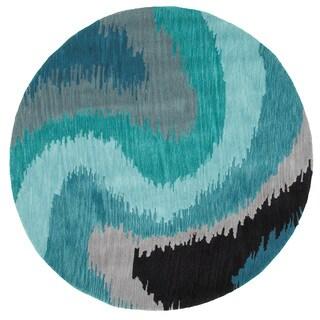 LNR Home Fashion Blue Abstract Round Rug (3' x 3')