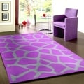 Tufted Animal Print Purple Rug (5' x 7'9)