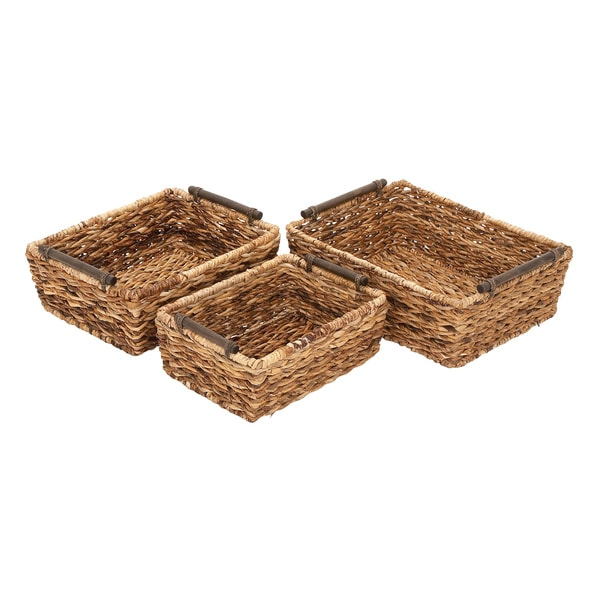 Natural Brown Rattan Baskets (Set of 3)