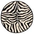 LNR Home Fashion Black/ Cream Animal-print Rug (7'9 Round)