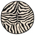 Hand-tufted Animal Print Black/Cream Round Rug (7'9 x 7'9)