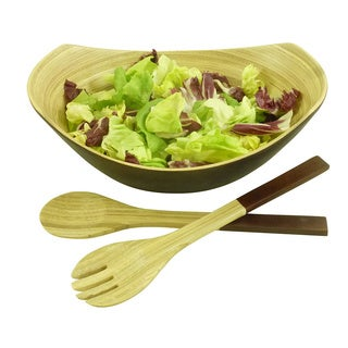 Bamboo Oval Bowl & Server 2-Piece Set (Vietnam)