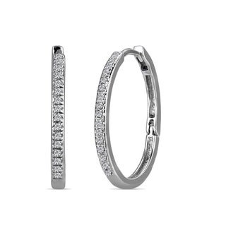 10k White Gold Kids 1/10ct TDW Diamond Hoop Earrings (H-I, I2)