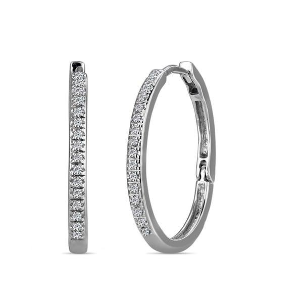 AALILLY 10k White Gold 1/10ct TDW Diamond Hoop Earrings 12169234