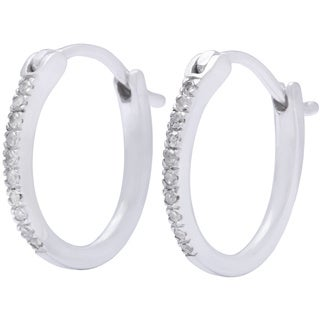 10k White Gold Children's White Diamond Accent Hoop Earrings (H-I, I2)