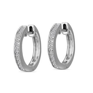 10k White Gold Children's Diamond Accent Hoop Earrings (H-I, I2)