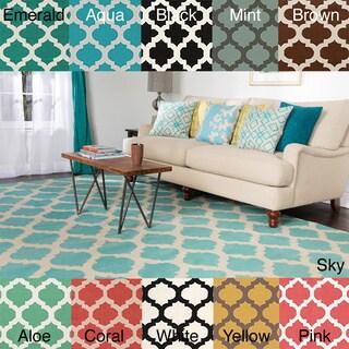 Hand Woven Oscar Moroccan Trellis Geometric Flatweave Wool Rug (3'6 x 5'6)