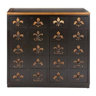 Brown Lacquer and Fleur De Lis Imprints Dresser
