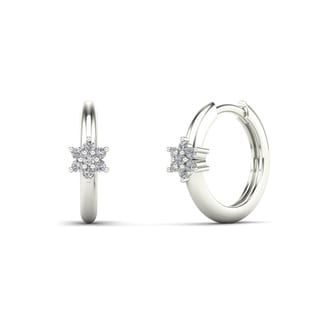 10k White Gold Children's 1/8ct TDW Diamond Flower Hoop Earrings (H-I, I1)