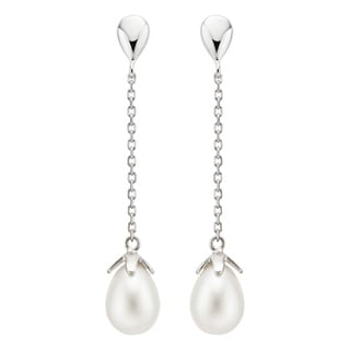 14k Gold Freshwater Drop Pearl Dangle Earrings (8-9mm)