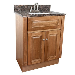 Heritage Oak Finish and Baltic Brown Granite Top Bathroom Vanity