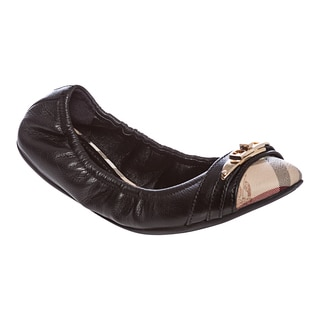 Burberry Women's Black Leather Haymarket Check Ballerina Flats