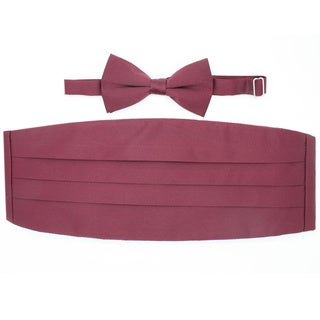 Ferrecci Burgundy Cummerbund and Bowtie Set
