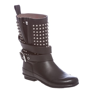 Burberry Black Stud Detail Belted Rain Boots
