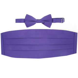 Ferrecci Purple Cummerbund and Bowtie Set