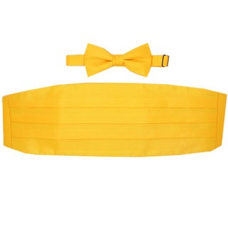 Ferrecci Orange Cummerbund and Bowtie Set