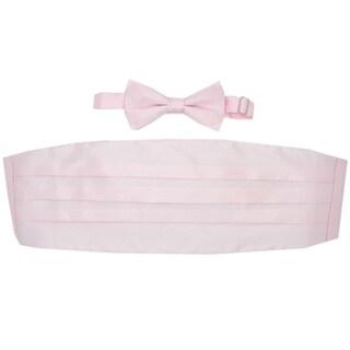 Ferrecci Pink Cummerbund and Bowtie Set