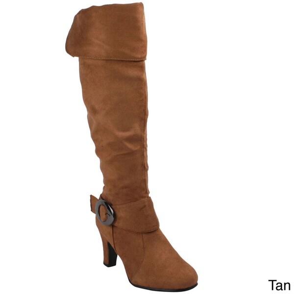 Anna Women's 'NB200-185' Tan Cuffed Collar Knee-high Boots