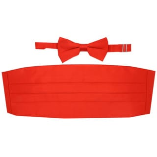 Ferrecci Red Cummerbund and Bowtie Set