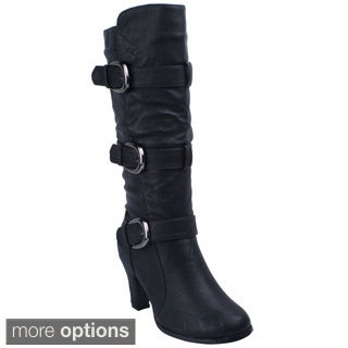 Anna Women's 'NB200-53' Chunky Heel Bands and Buckles Boots