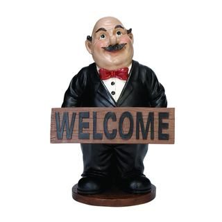 Polystone 15-inch Waiter Sculpture