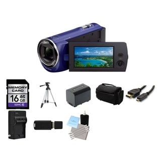 Sony HDR-CX220 8.9MP HD Handycam Blue Camcorder 16GB Bundle