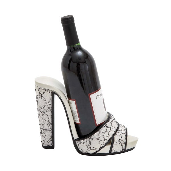 Stiletto Design with Floral Print Polystone Shoe Wine Holder